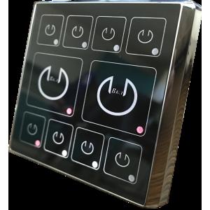 Выключатель света двухклавишный с 8 логическими сенсорными сегментами