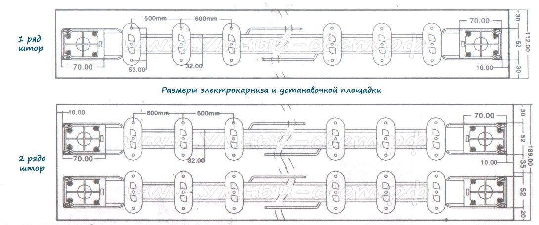 Размеры электрокарниза и установочной площадки для штор с массой до 50кг