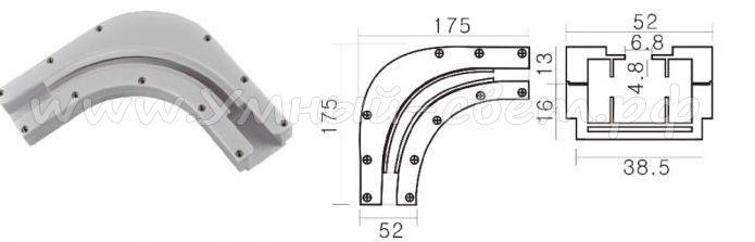 Размеры углового переходника для карнизов с электроприводом