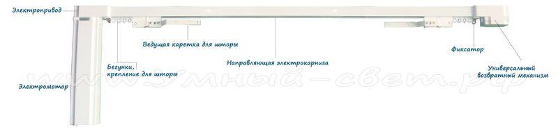 Схема электропривода и электрокарниза для штор с максимальной массой до 75 кг