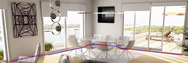 Пример установки теплого плинтуса и скрытого в полу радиатора в помещении с панорамным остеклением.
