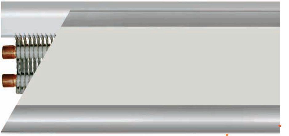 Однорядный теплый плинтус – вид сбоку