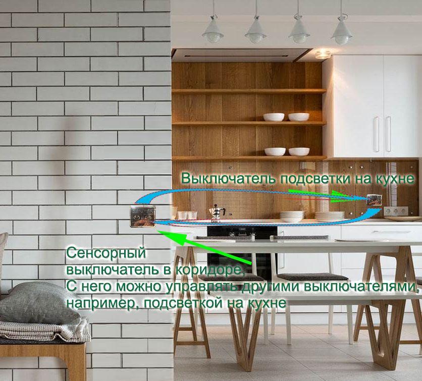 Выключатель одно клавишный, схема управления светом в современном доме (пример на базе помещения кухня-гостиная).