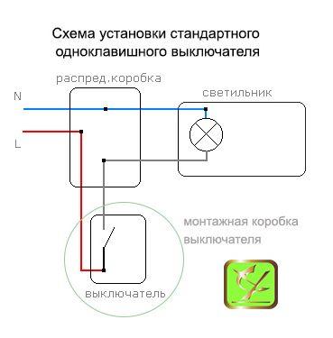 Выключатель одноклавишный схема установки