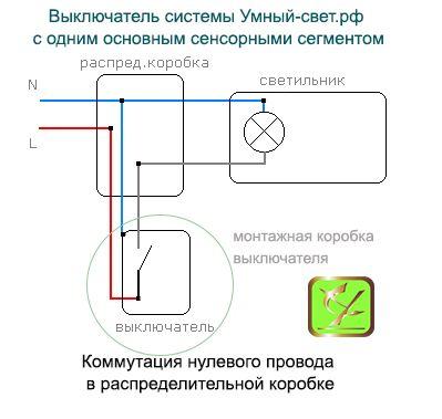 Установка одноклавишного выключателя системы Умный свет